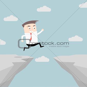 Businessman Cliff Jump