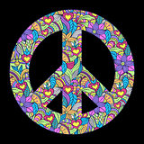 peace symbol on black background