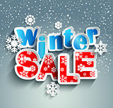 Winter sale inscription with snowflakes. Vector.
