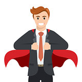 Happy smiling businessman turns in Superhero