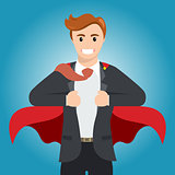 Businessman turns in Superhero with red cape