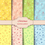Christmas seamless pattern with balls, snowflakes, holly berry.