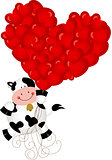 Cute cow flying with heart balloons