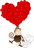 Monkey flying with heart balloons