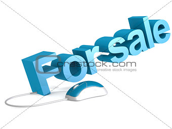 For sale word with blue mouse