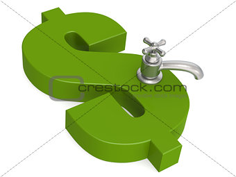 Green dollar sign with water faucet
