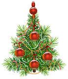 Decorated green Christmas fir tree