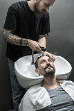 Washing head in barbershop