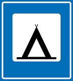 Vector Road Blue Camping Sign.