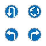 Set of variants a U-Turn forbidden - road sign isolated on white background. Group of as fish-eye, simple and grunge icons for your design. Vector illustration.