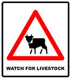 Road Sign Warning livestock Movement on White Background