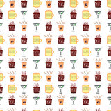 Drinks pattern -  Set of Cola, Beer, Martini and Coffee