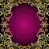 Purple vintage frame with lace mandala in the center