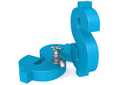 Blue dollar sign with water faucet