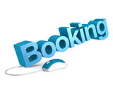 Booking word with blue mouse