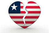 Broken white heart shape with Liberia flag