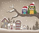 Christmas owls on branch theme image 1