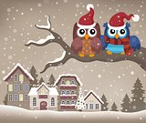 Christmas owls on branch theme image 2