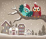 Christmas owls on branch theme image 3