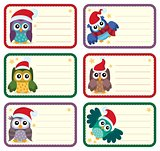 Christmas tags with owls theme 1