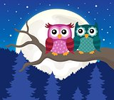 Stylized owls on branch theme image 9