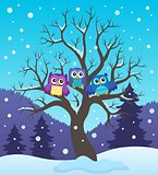 Stylized owls on tree theme image 2