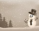 Stylized winter image with snowman 1