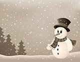 Stylized winter image with snowman 4
