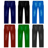 Set of Colored Jeans. Fashionable Modern Denim
