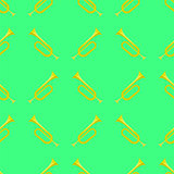 Yellow Musical Horn Seamless Pattern