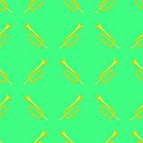 Yellow Musical Horn Seamless Pattern