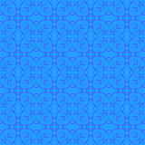 Blue Ornamental Seamless Line Pattern.