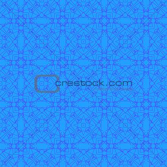 Blue Ornamental Seamless Line Pattern.