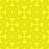 Yellow Ornamental Seamless Line Pattern.
