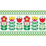 Swedish floral retro pattern - long traditional folk art design