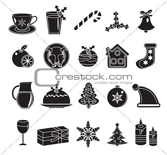 Christmas black silhouette icons set.  of traditional  symbols.  design elements.Vector illustration