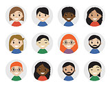 Icons interracial people, flat style. International , avatar. Different icon. Vector illustration