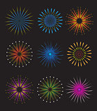 Fireworks icons set.  vector on black background. Holiday and party firework  collection.  illustration