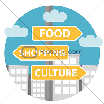 Guidepost icon flat style. Road sign in the city.   arrow on the background of the , with the inscription shopping, culture, food. Vector illustration