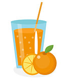 Orange juice, orangeade, in a glass. Fresh isolated on white background.