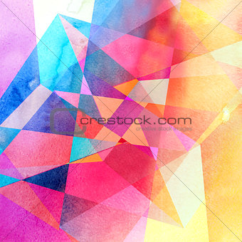 Abstract watercolor geometric background