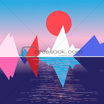 Bright mountain landscape and the sun