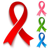 Red, pink, green and blue ribbons