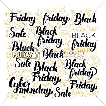 Black Friday Lettering Design Set