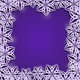 Purple Frame of Stylized Abstract White Flowers