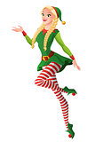 Pretty girl in green Christmas elf costume presenting and flying.