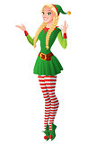 Cute girl with braids in green Christmas elf costume flying.