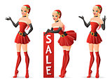 Beautiful girls in Santa costume in different poses. Vector set.