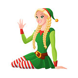 Pretty girl in Christmas elf costume greeting. Vector illustration.