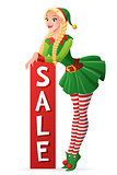 Pretty girl in Christmas elf costume sale banner. Vector illustration.
